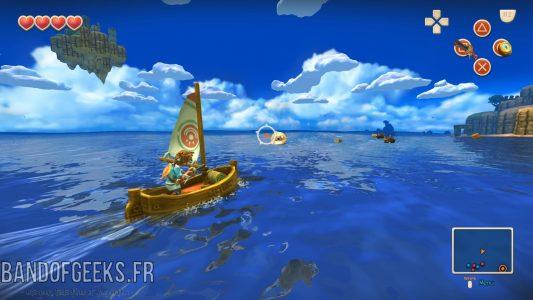 Oceanhorn - Monster of Uncharted Seas le héros sur son bateau tire sur un poulpe