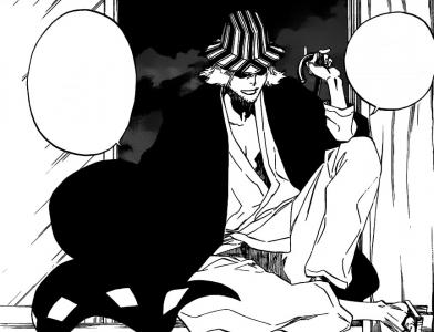 Urahara Kisuke assis à la fenêtre parle à Ichigo