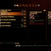 Dragon Age II inventaire armes