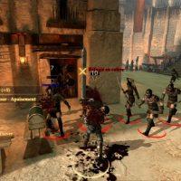 Dragon Age II Hawke en plein combat contre des réfugiés