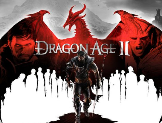 Dragon Age II logo avec héros sur fond de dragon
