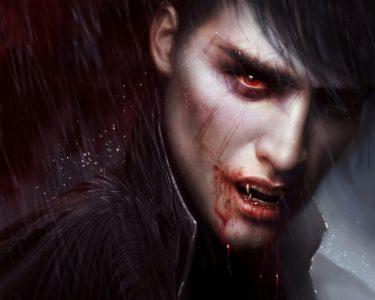 Je suis une légende vampire homme avec du sang autour de la bouche
