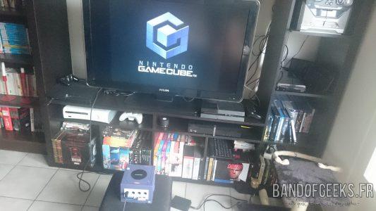 Journal Nostalgie installation consoles Game Cube et télévision