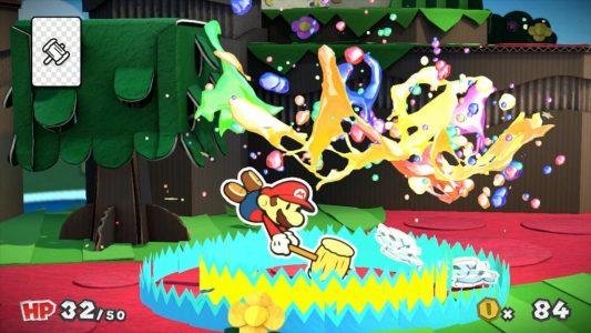 Paper Mario Color Splash Mario donne un coup de marteau et fait jaillir des couleurs