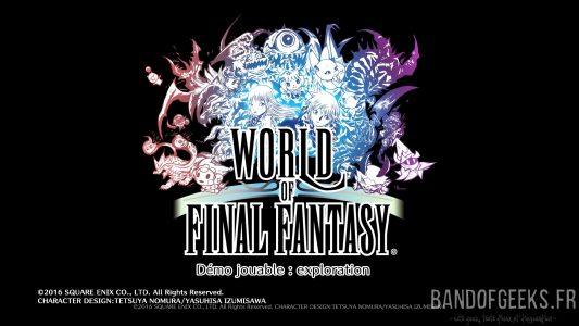 World of Final Fantasy logo sur fond noir