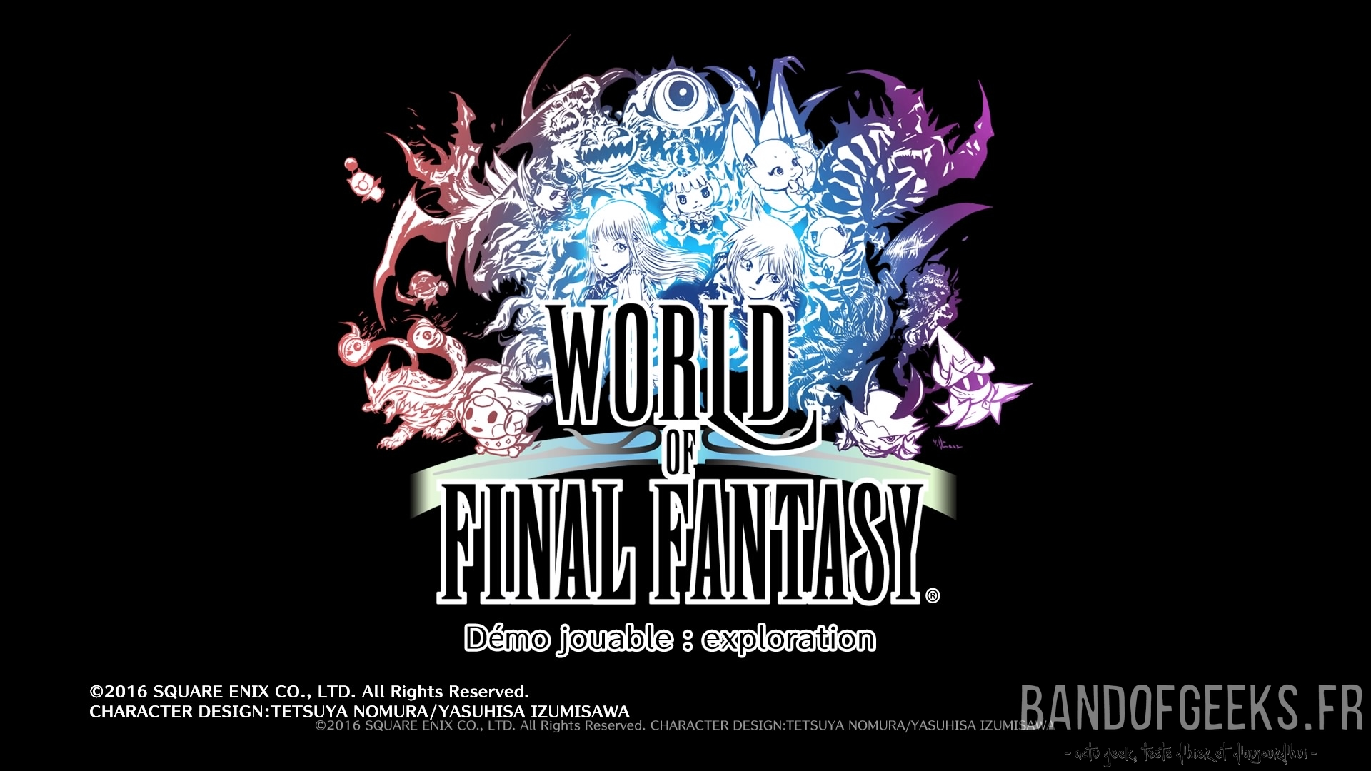 World of Final Fantasy logo sur fond noir