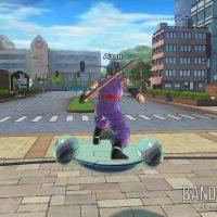 Dragon Ball Xenoverse 2 Aizen le Saiyen est sur son véhicule dans Conton City