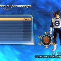 Dragon Ball Xenoverse 2 écran de sélection des personnages niveau 51 Aizen Saiyen
