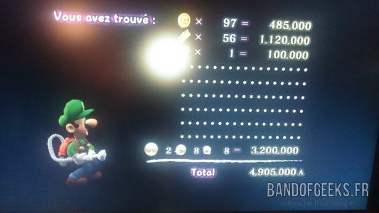 Journal Nostalgie Luigi's Mansion récapitulatif argent gagné
