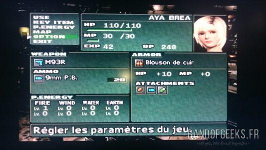 Parasite Eve II menu du jeu
