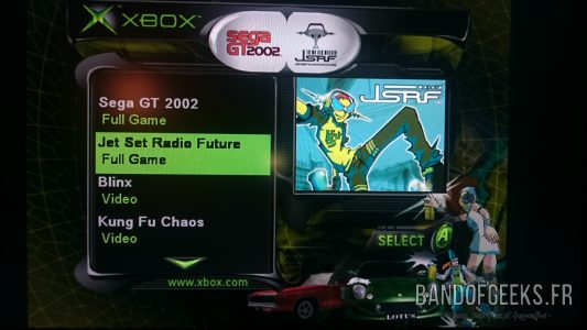 Menu de sélection Jet Set Radio Future Sega GT 2002