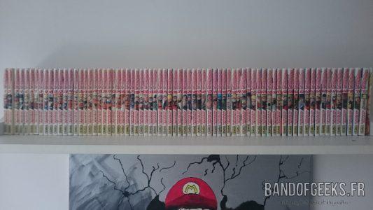 Naruto tomes français alignés sur une étagère