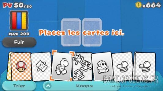 Paper Mario Color Splash choix des cartes pour le combat