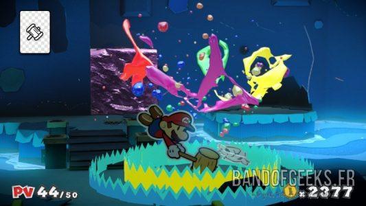 Paper Mario Color Splash Mario donne un coup de marteau dans une explosion de couleurs