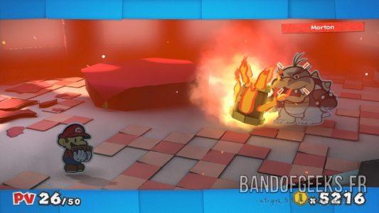 Paper Mario Color Splash Morton a un marteau enflammé