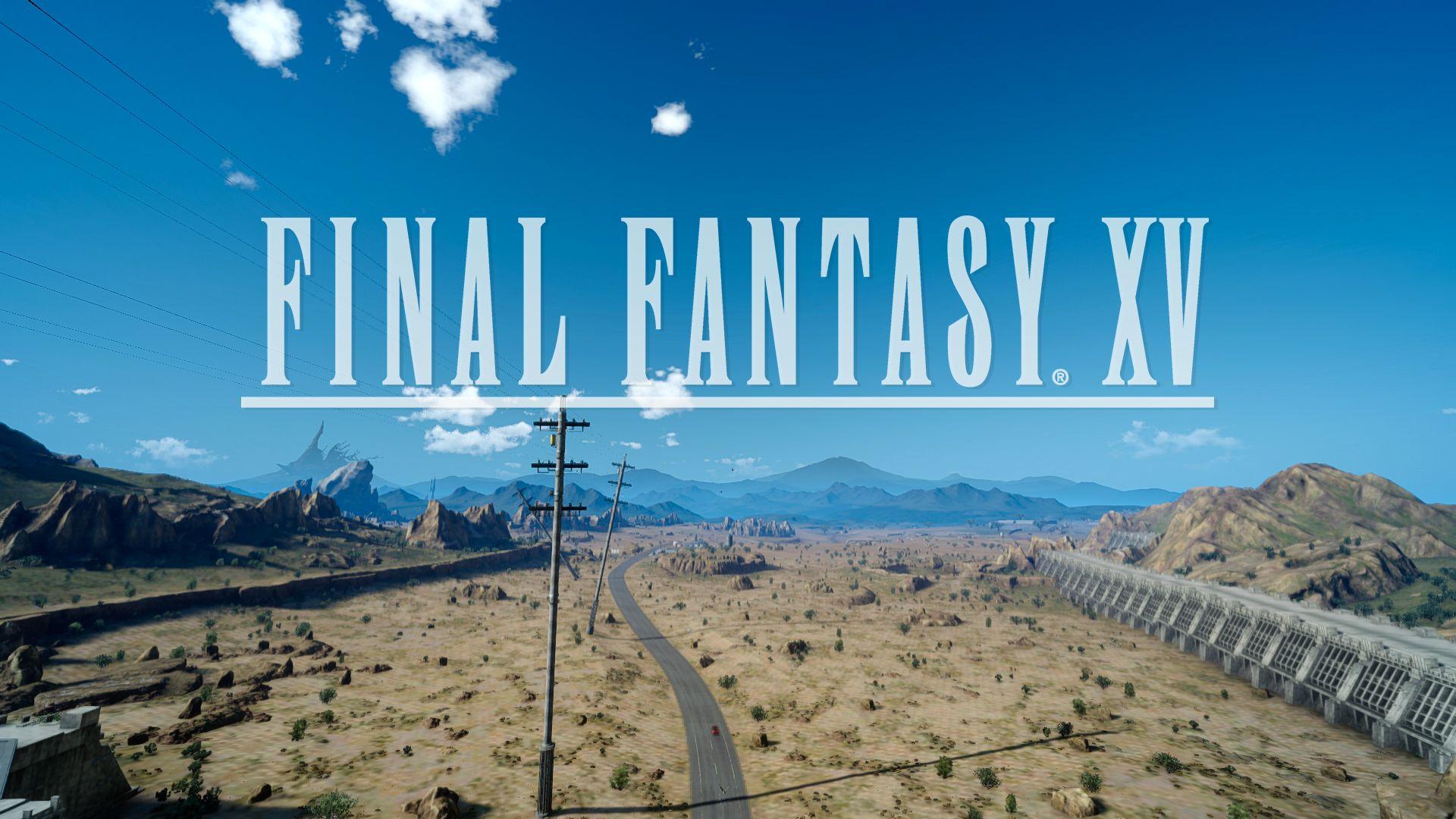 Final Fantasy XV Logo sur route désertique