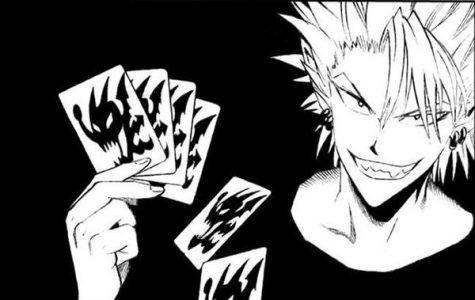 Hiruma Yoichi Eyeshield 21 tient des cartes en main et sourit