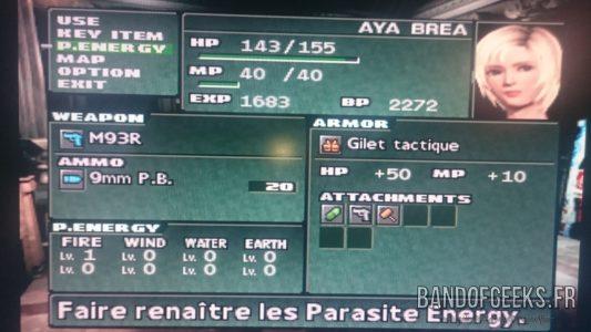 Journal Nostalgie Parasite Eve II menu principal du jeu
