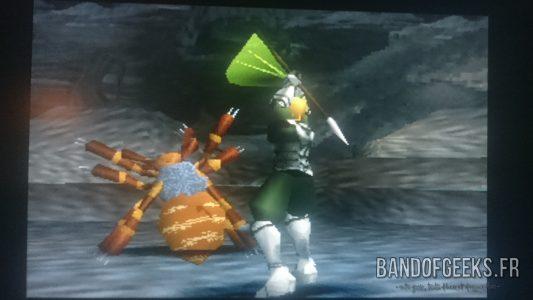 Legend of Dragoon Lavitz fait Canne Vrille sur une araignée