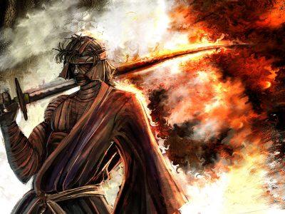 Makoto Shishio prend la pose avec du feu et un katana