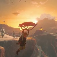 Breath of the Wild Link plane avec sa paravoile