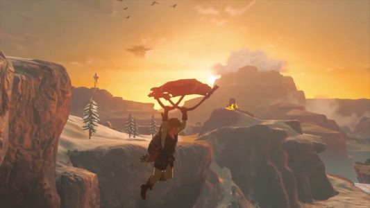 Zelda Breath of the Wild sur Switch Link descend en deltaplane