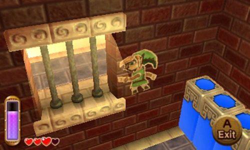 A Link Between Worlds Link en papier marche sur le mur