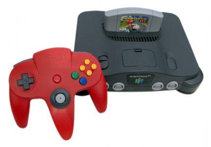 console N64 avec manette rouge et Mario Kart 64 dans la console