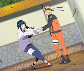 Hinata tire Naruto par le bras