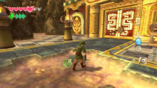 Skyward Sword Link est épuisé et devant un temple