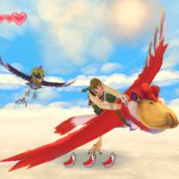 Skyward Sword Link vole sur son oiseau