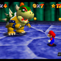 Super Mario 64 Mario face à Bowser
