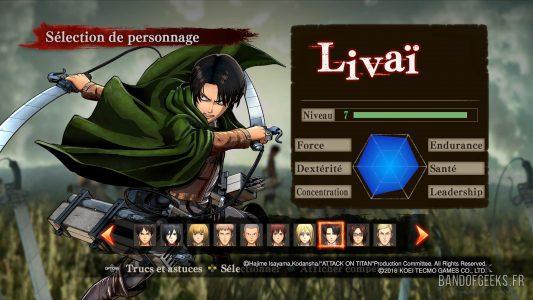 Attaque des Titans écran de sélection du personnage