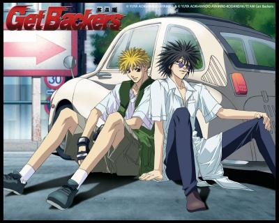 Get Backers logo avec Ban et Ginji assis devant leur voiture