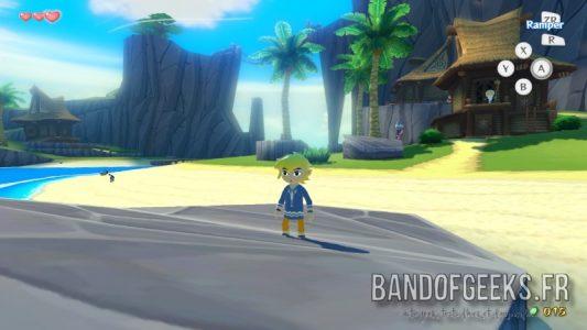 Wind Waker Link est sur un rocher sur la plage de l'île du dragon
