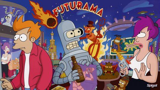 Futurama Fry Bender et Leila sont devant le diable robot