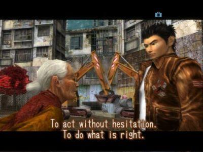 Shenmue Ryo Hazuki discute avec une vieille dame