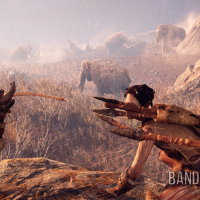 Far Cry Primal Takkar suit ses amis Wenja lors d'une chasse au mammouth
