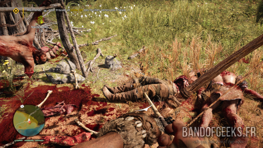 Far Cry Primal découverte d'un camp jonché de cadavres