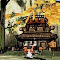 Okami Amaterasu devant une maison dans un village