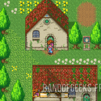 Secret of Mana le héros devant une maison du village