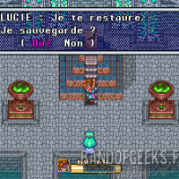 Secret of Mana l'oracle Lucie propose au héros de sauvegarder