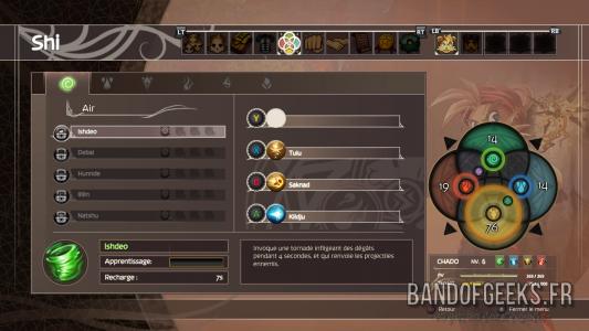 Shiness - The Lightning Kingdom écran de sélection des attaques de Shi