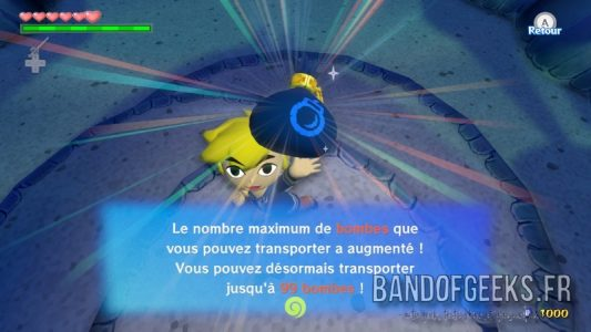 Wind Waker HD Link obtient le sac de bombes maximum