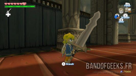 Wind Waker HD Link porte une arme d'un chevalier