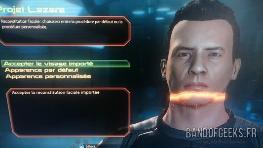 Mass Effect 2 écran de sélection de visage de Shepard