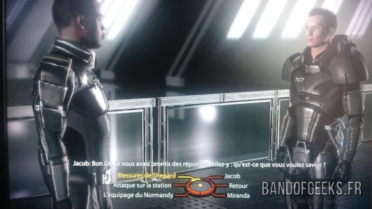 Mass Effect 2 Shepard discute avec Jacob