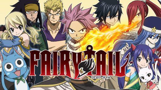 Fairy Tail les personnages principaux prennent la pose devant le logo