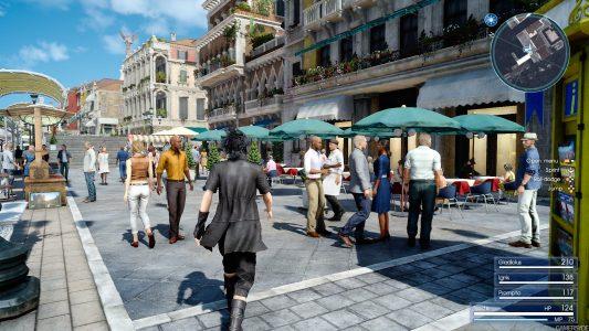 Final Fantasy XV Noctis se balade dans la ville d'Altissia