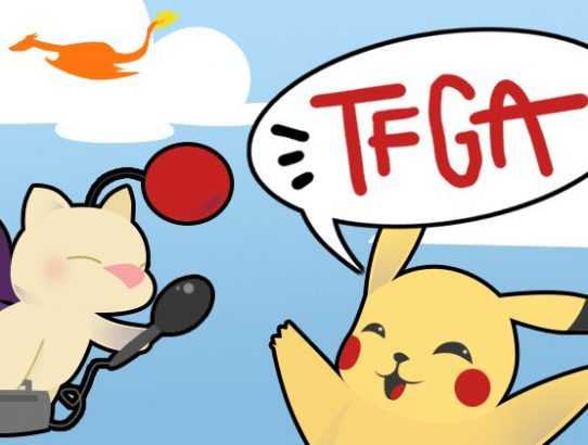 TFGA Logo saison 3 avec Mog qui interview Pikachu